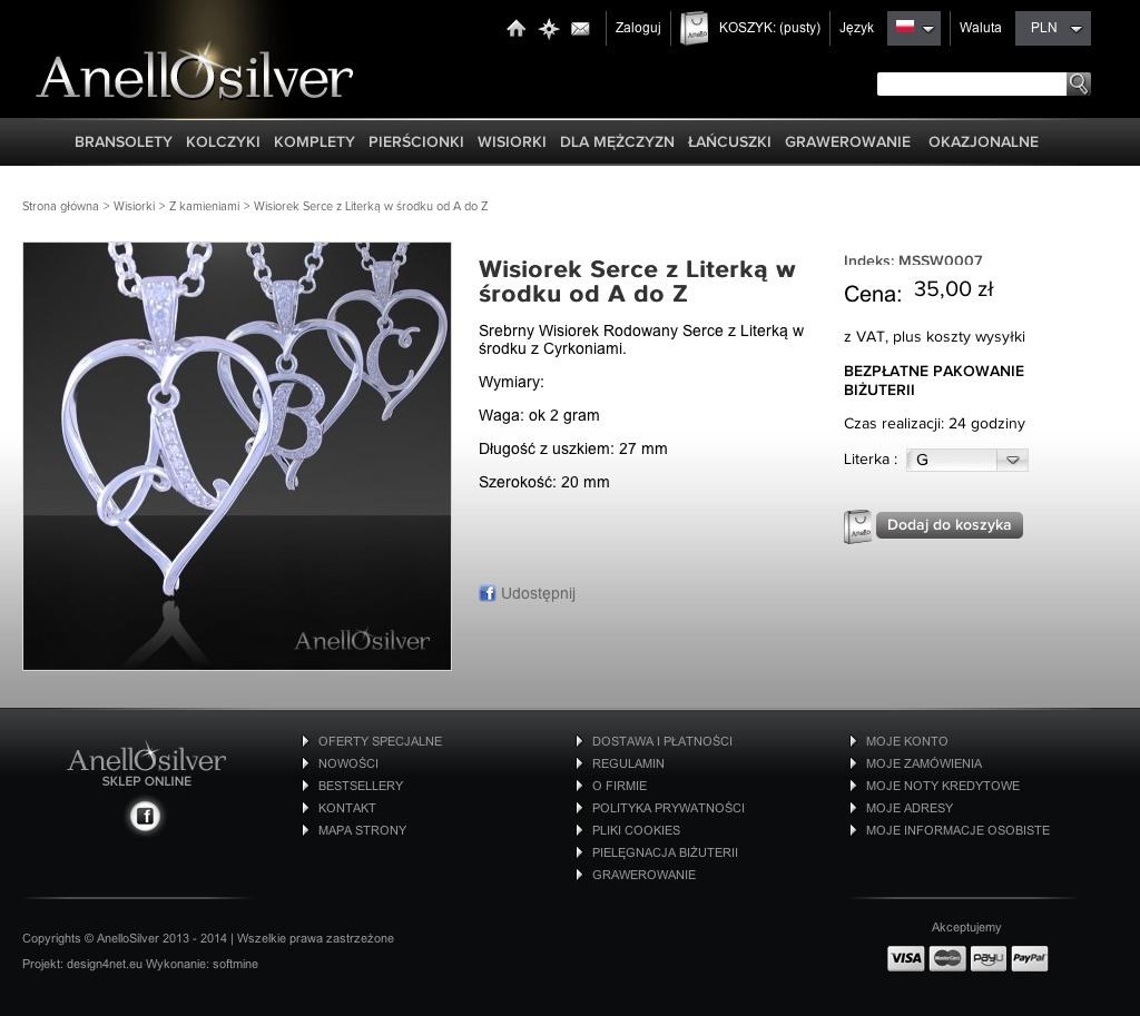 Wisiorek Serce z Literką w środku od A do Z - Anellosilver